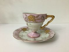 Vintage Lefton Japan Iridescent Gold Rose Tea Cup and Saucer Hand Painted #Lefton