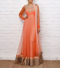 Peach Net Anarkali