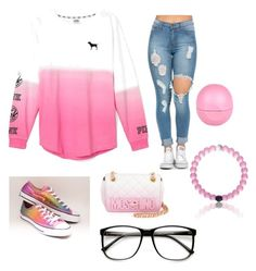 """""""Untitled #2"""" by briana-13 ❤ liked on Polyvore featuring Victoria's Secret, Converse, Moschino, River Island, women's clothing, women, female, woman, misses and juniors"""