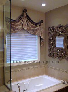 Creating luxury over the bath tub area. Bathroom Window Curtains, Bathroom Window Treatments, Valance Window Treatments, Window Treatments Living Room, Bathroom Windows, Custom Window Treatments, Window Curtain Designs, Drapery Designs, Curtain Ideas