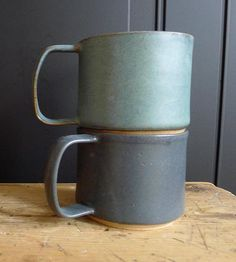 Green & Grey Ceramic Mugs, Set of 2 by Jessie Lazar Ceramics on Scoutmob Shoppe