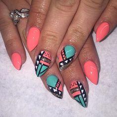 neon almond nails - Google Search