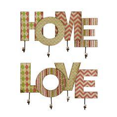 2 Piece Home & Love Wall Hook Set