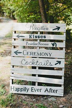 Un panneau indicateur  - 20 idées faciles et pas chères pour un mariage qui change - Elle