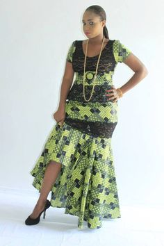 Olive green and black African wax print