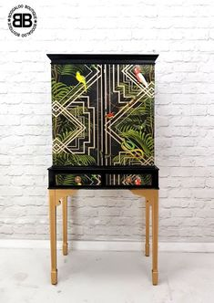 Stunning Professionally Upcycled Vintage Cocktail Cabinet Tropical Decoupage  | eBay