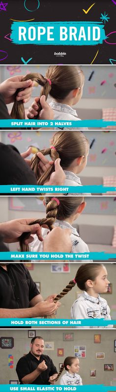 """Learn how to make this gorgeous rope braid from our favorite hairstyling single dad, at """"Dad Hair School."""" #HairTutorial"""