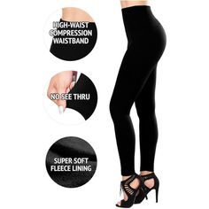 SEJORA Fleece Lined Leggings ($14) ❤ liked on Polyvore featuring pants, leggings, slimming leggings, slim pants, fleece lined leggings, high waisted pants and high-waisted pants