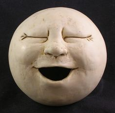 Singing Moon Garden Head Antique White/Eggshell by thefunnything