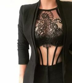 Note to self: Wear more business jackets over lingerie! Note to self: Wear more business jackets over lingerie! Jolie Lingerie, Hot Lingerie, Women Lingerie, Lingerie Underwear, Mode Outfits, Sexy Outfits, Fashion Outfits, Womens Fashion, Lingerie Outfits