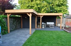 Buitenverblijf Douglas While age-old in principle, the actual pergola have been encountering somewhat of a Backyard Pavilion, Backyard House, Garden Gazebo, Fire Pit Backyard, Covered Patio Design, Privacy Landscaping, Modern Bungalow, Garden Buildings, Backyard Makeover