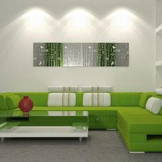 Wall Mirrors with Laser Cut Images Accentuating Modern Interior Design-love the green