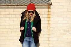 Lately I've been really into letting my beanie inspire my outfit - and the slouchier the better! Aren't all these different looks so great. Tomboy Fashion, Tomboy Style, Beanies Fashion, Fasion, Red Hats, Long Sweaters, Fashion Pictures, Fashion Ideas, Winter Wardrobe