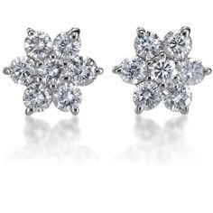 SummerRose 14k Gold 1/2ct TDW Diamond Flower Stud Earrings ($650) ❤ liked on Polyvore