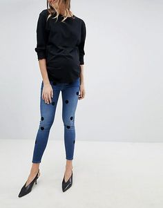 Find the best selection of ASOS DESIGN Maternity Ridley high waist skinny jeans in dark stone wash with large flock spots. Shop today with free delivery and returns (Ts&Cs apply) with ASOS! Asos Maternity, Jeans Skinny, Baby Kids, Capri Pants, Black Jeans, Shopping, Style, High Waist, Dark