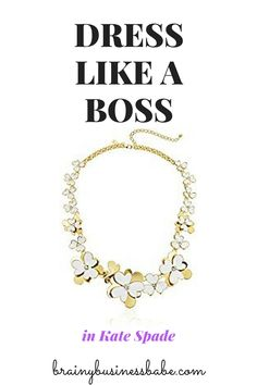 Love this gold floral statement necklace from Kate Spade. Perfect for the office - show some personality without coloring too far outside the lines! Works for a business casual outfit or business attire. Great work style!