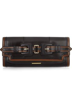 Burberry|Buckled leather clutch