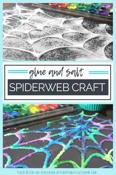 Glue and Salt Spiderweb Craft Glue and Salt Spiderweb craft to go with Eric Carles Very Busy Spider Book- fun Halloween craft too! via Karyn @ Teach Beside Me The post Glue and Salt Spiderweb Craft appeared first on Halloween Crafts. Halloween Tags, Halloween Designs, Halloween Crafts For Kids, Halloween Art Projects, Halloween Activities For Preschoolers, Halloween Activity Days, Kids Holiday Crafts, Preschool Halloween Activities, Haloween Craft