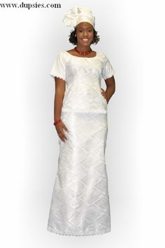 White African Brocade Attire - African Brocade Dress with lace trimming $79.99