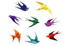Swallows in origami style by seamartini on Creative Market