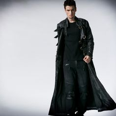 2015 New Men Tie-Dredlong Coat Jacket Punk Gothic Fashion Handsome Polyester Leather(China Gothic Fashion Men, Gothic Men, Dark Fashion, Victorian Fashion, Mens Fashion, Goth Guys, Leder Outfits, Look Man, Gothic Outfits