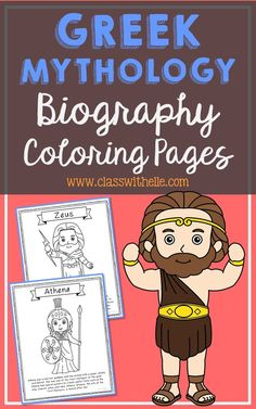 Bundle of 12 Greek Mythology Biography Coloring Pages with Informational Text. Figures included: Zeus, Poseidon, Hercules, Apollo, Athena, Atlas, Hera, Odysseus, Helen of Troy, Cronus, Medusa, Pandora
