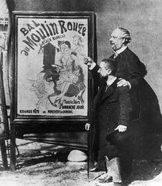 Il pittore francese Henri Toulouse-Lautrec con il direttore del Moulin Rouge Tremolada di fronte a uno dei cartelloni pubblicitari che realizzò per il locale nel 1895
