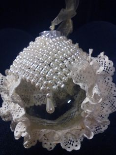 Handmade pearl and lace ornaments