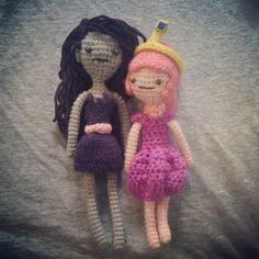 """thedollshlop: """" Basic Redressable Female Doll Pattern Sorry it took so long! I hope I rewrote it correctly. Stuff needed: mm hook 2 mm hook Weight 2 yarn in main color pink or grey and a contrast color of your choice I used teal for Marceline and. Adventure Time Crochet, Adventure Time Girls, Crochet Fairy, Crochet Dolls, Knit Crochet, Doll Amigurumi Free Pattern, Amigurumi Doll, Marceline And Princess Bubblegum, Beautiful Crochet"""