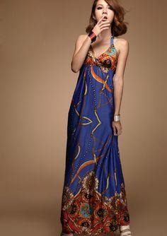 V-neckline Halter Floral Imprint Dress