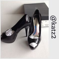Stiletto Patent Leather Peep-toes New, never worn patent peep-toes. Gorgeous 👠                                                                              Note, there is a slight scuff mark, red arrow, original to the shoes when I bought them.                                                                                                                            🚫Trades 🚫Holds City Streets by JCP Shoes