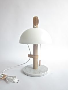 New work, table lamp from leather, carrara marble and copper.
