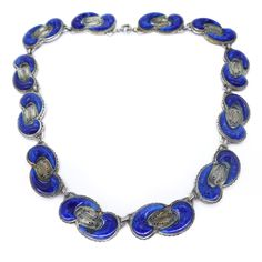 Vintage Art Deco Signed Czech Lapis Blue Glass Ornate Necklace | Clarice Jewellery | Vintage Costume Jewellery