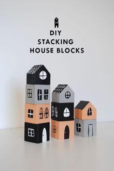 DIY Stacking House Blocks Kids Woodworking Projects, Easy Diys For Kids, Crafts For Kids, Diy Inspiration, Homemade Toys, Wood Toys, Diy Toys, Wooden Diy, Diy Projects To Try