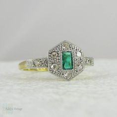 Art Deco Emerald Engagement Ring with Geometric Diamond by Addy