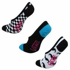 Vans Concur Canoodle Juniors No-Show Socks 3-Pack - Mustache
