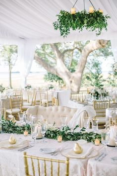 Wedding Inspiration | Green and White | Gold Accents | Tented Weddings | Summer Weddings | Gold Chairs | Lace Tablecloths