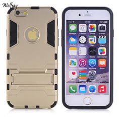 For iPhone 6s Case Shockproof Robot Armor Case Slim Hybrid Silicone Rubber Hard Back Phone Cover For iPhone 6 Coque With Stand