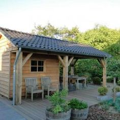 Shed and cover. Love the idea of shed/ tiny house with porch in back corner Garden Buildings, Garden Structures, Outdoor Structures, Outdoor Spaces, Outdoor Living, Outdoor Decor, Shed Design, Garden Design, Gazebo