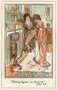 Jane and Mister Bingley standing together over the hearth. - Pride & Prejudice