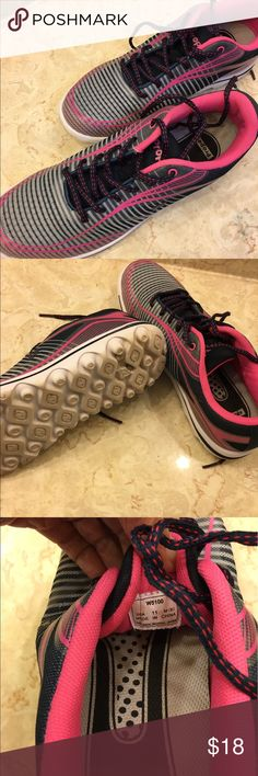 Black, gray, pink and white Propet running shoes New, only worn a few times.  I would keep but I'm down scaling.  My loss is your gain.  Smoke free environment. Propet Shoes Sneakers