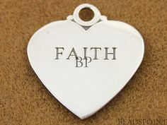 Sterling Silver Large Flat Heart Faith Sweet Two by Beadspoint, $6.99