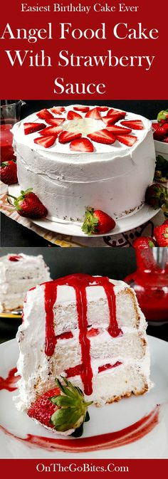 Angel food cake with strawberries and strawberry sauce is super easy and a real showstopper! OnTheGoBites.Com