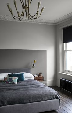 Bedroom with neutral Slate wall paint and warm grey colour block painted headboard in Sharkskin Grey Bedroom Paint, Bedroom Door Design, Bedroom Wall Designs, Bedroom Wall Colors, Home Bedroom, Grey Paint, Colour Blocking Interior, Paint And Paper Library, Romantic Bedroom Decor