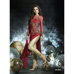 Designer Red Embroidered Georgette Pant Style Suit - 5002C ( GS-5583 )