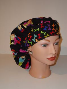The Perfect Sized Bouffant Scrub Hat...Colorful Puppy Dogs w/Colorful Bones…