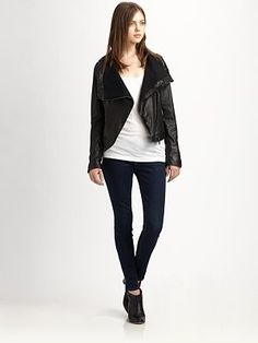 Line - The Impulsive Convertible Leather Jacket Saks Fifth Avenue, Line, Convertible, Black Jeans, Normcore, Leather Jacket, Pants, Jackets, Shopping