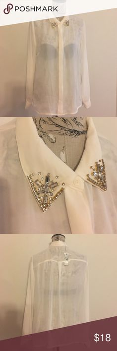 🆕 Worthington Sheer Embellished Blouse XL Off white Button Blouse. Embellished at top of collar. Worthington Tops Blouses