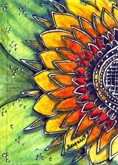 ~ Sunflower Mandala ~ by Margaret Storer-Roche Kunstjournal Inspiration, Art Journal Inspiration, Mandalas Painting, Mandala Art, Mandala Drawing, Mandala Pattern, Pattern Art, Sunflower Mandala, Sunflower Garden