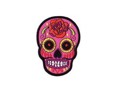 Sugar Skull Iron On Patch, Day of the Dead, Patches, Embroidered, Applique, Wildflower + Co., DIY Patches ………………………………….………………………………….…………………….. Gorgeous Sugar Skull patch wearing a flower crown of roses, marigolds, & daisies! Intricately & fully embroidered in vibrant shades of (aqua, hot pink, turquoise, yellow +). Large - measures approx. 4 high x 3 wide! Use patches to personalize just about anything! We especially love this larger patch on jackets, denim, & rucksacks! ✳ Measu...